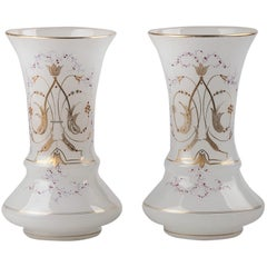 Pair of Victorian Opaline Glass Hand Painted Vases from circa 1880