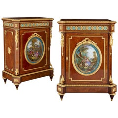 Pair of Victorian Period Amboyna Cabinets with Sèvres Style Porcelain Plaques