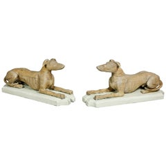 Pair of Victorian Pine Figures of Reclining Greyhounds