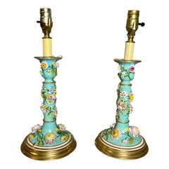 Pair of Victorian Porcelain Candlestick Lamps
