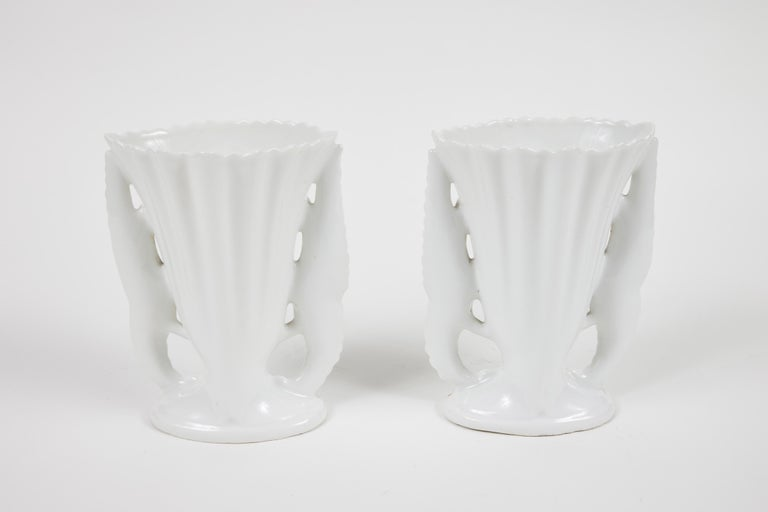19th Century Pair of Victorian Porcelain Mantel Vases For Sale