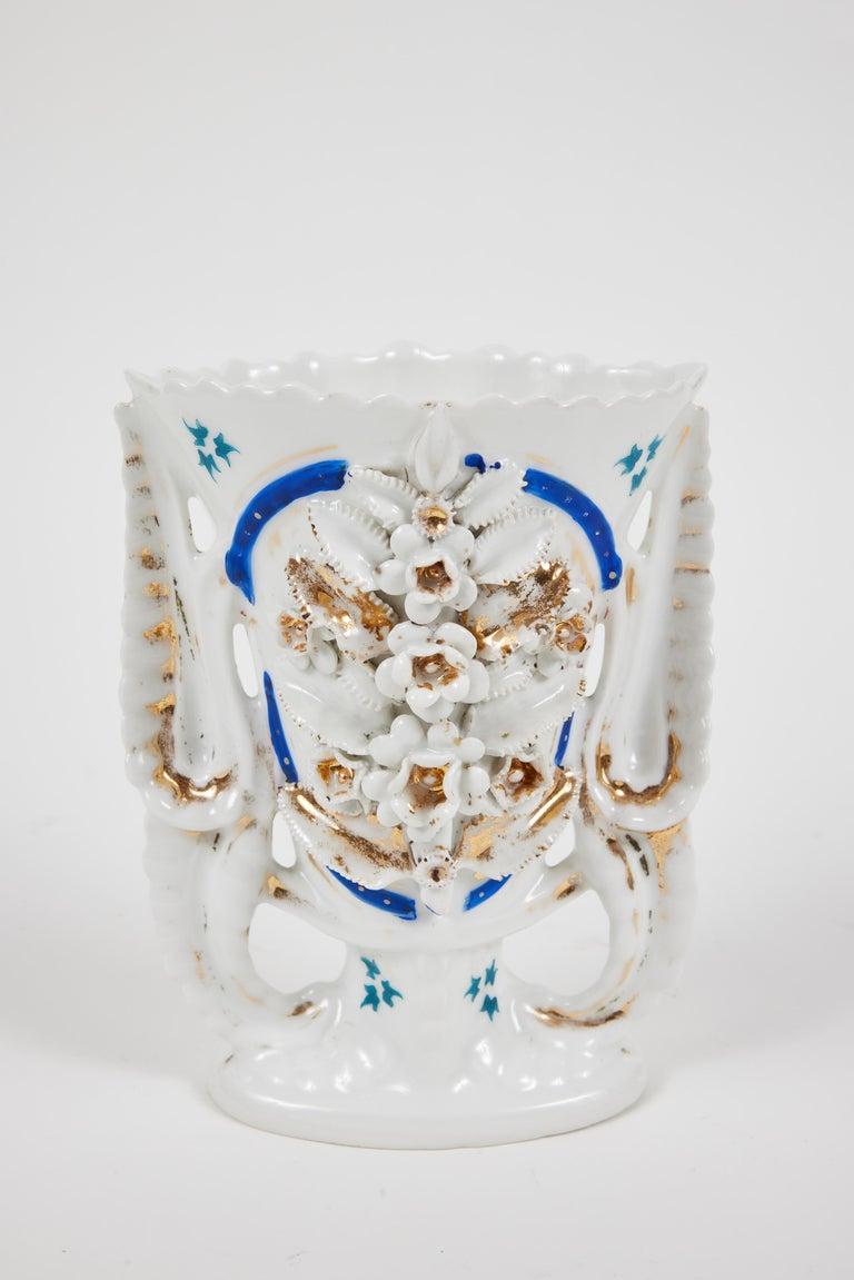 Pair of Victorian Porcelain Mantel Vases For Sale 2
