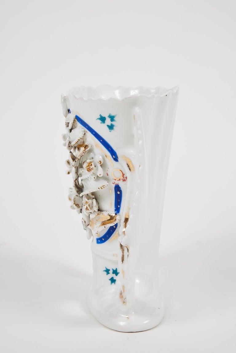 Pair of Victorian Porcelain Mantel Vases For Sale 3