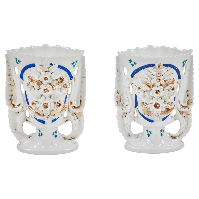 Pair of Victorian Porcelain Mantel Vases For Sale