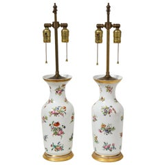 Pair of Victorian Porcelain Polychrome Decorated Vases Mounted as Lamps