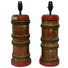 Pair of Victorian Print Roller Lamps