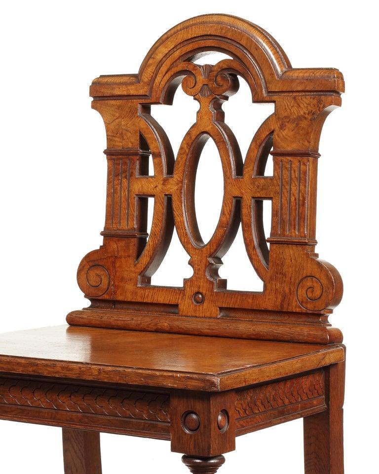 British Pair of 19th Century Victorian Renaissance Revival Pollard Oak Hall Chairs For Sale