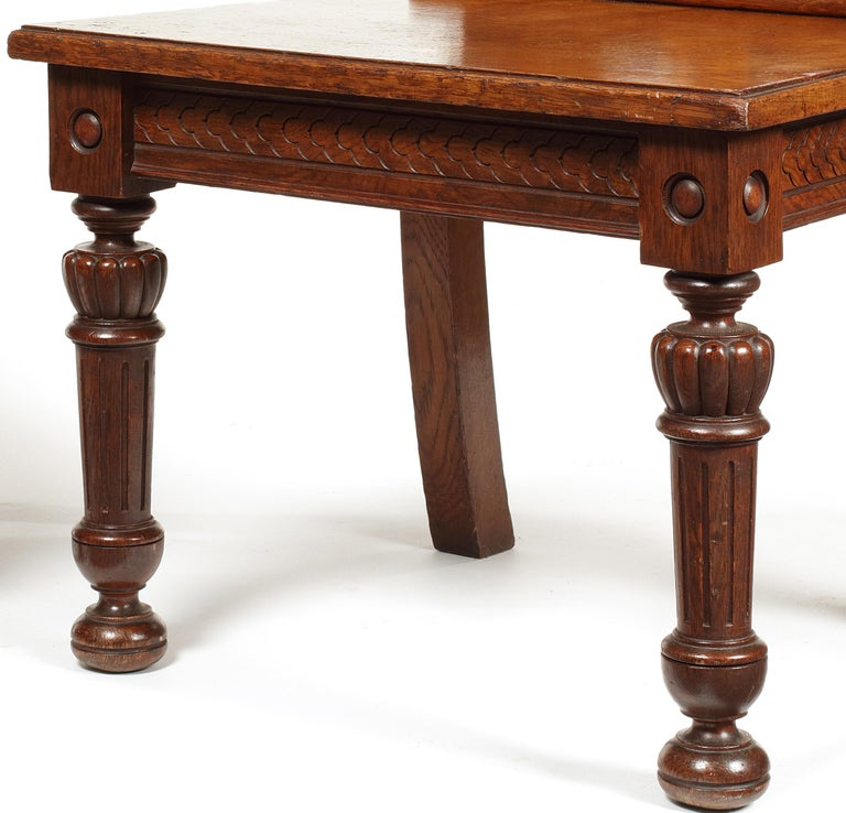 Carved Pair of 19th Century Victorian Renaissance Revival Pollard Oak Hall Chairs For Sale