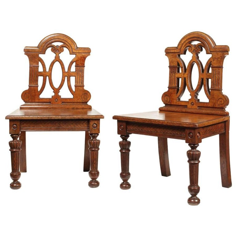 Pair of 19th Century Victorian Renaissance Revival Pollard Oak Hall Chairs For Sale