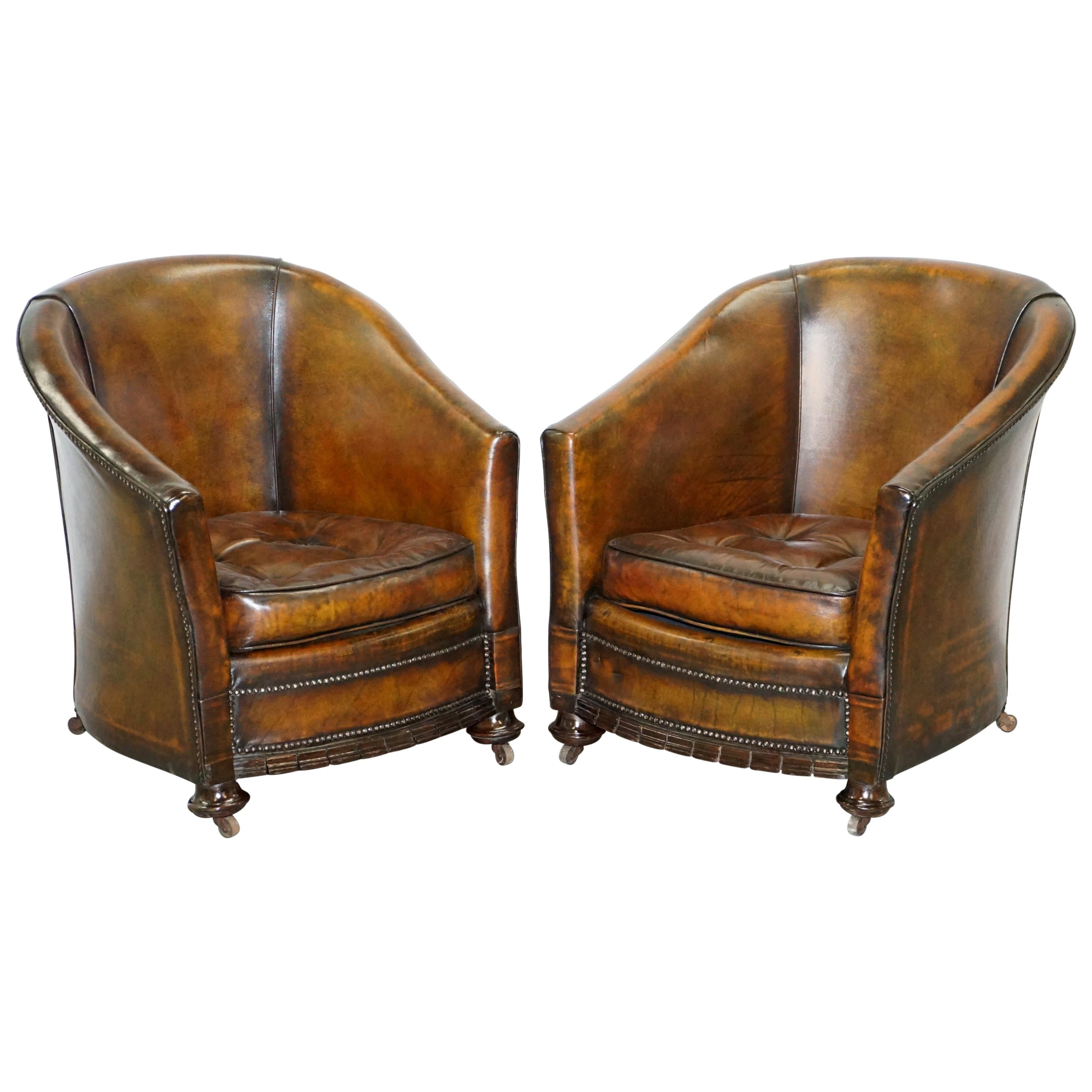 Pair of Victorian Restored Hand Dyed Brown Leather Chesterfield Tub Armchairs
