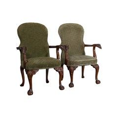Pair of Victorian Revival Elbow Chairs, Mahogany, Lounge, Armchairs 20th Century