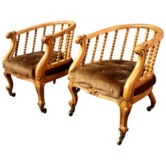 Pair of Victorian Satinwood Tub Chairs by J Kerr & Co.