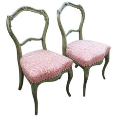 Pair of Victorian Side Chairs with Green Paint and Red/ White Upholstered Seats