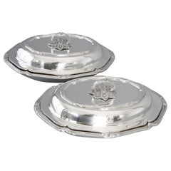 Pair of Victorian Silver Entree Dishes, London, 1896