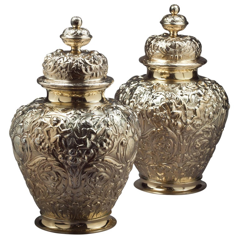 Pair of Victorian Silver Gilt Covered Ginger Jars For Sale