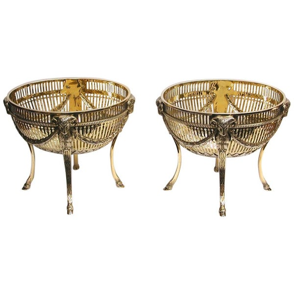 Pair of Victorian Silver Gilt Sweet Baskets, 1897, Thomas's of Bond Street