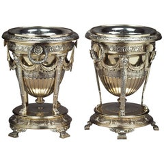 Pair of Victorian Silver Parcel Gilt Wine Coolers