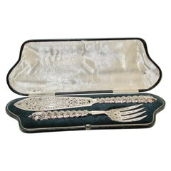 Pair of Victorian Silver Plated Fish Servers in Fitted Box, Dated Circa 1880