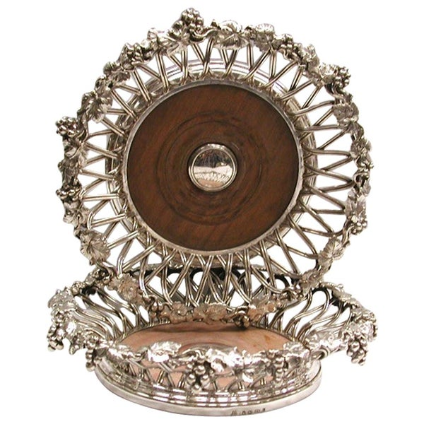 Pair of Victorian Silver Plated Grape and Vine Design Wine Coasters by Elkington