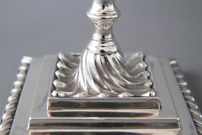 Pair of Victorian Silver Three-Light Candelabra Sheffield 1894 Hawksworth & Eyre For Sale 5