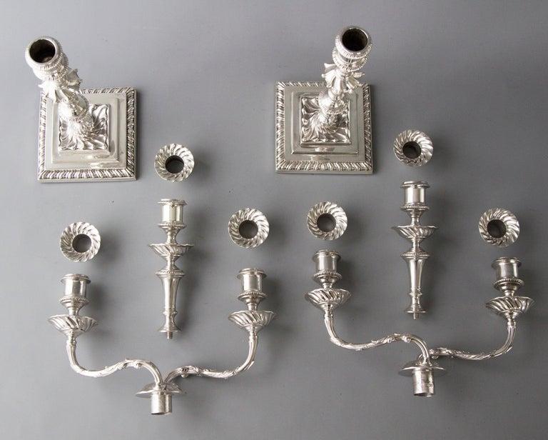 Pair of Victorian Silver Three-Light Candelabra Sheffield 1894 Hawksworth & Eyre For Sale 7