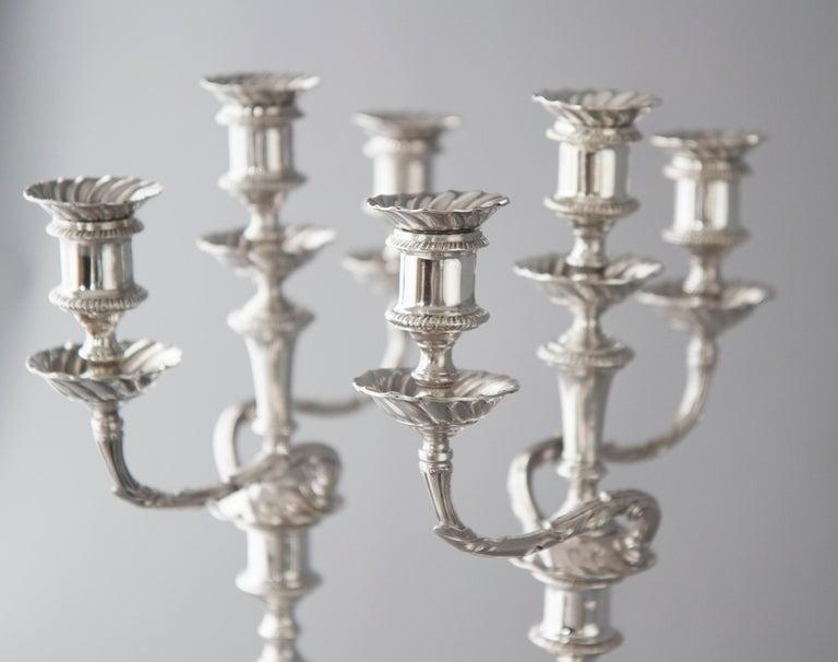 British Pair of Victorian Silver Three-Light Candelabra Sheffield 1894 Hawksworth & Eyre For Sale