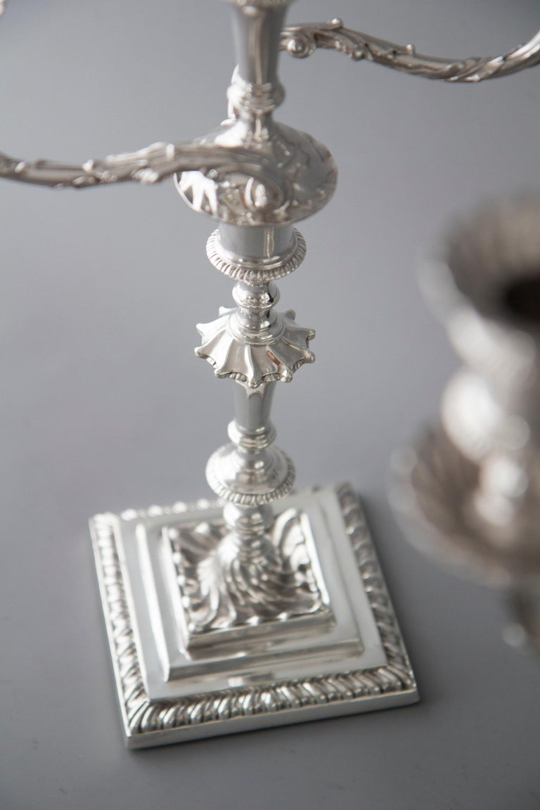 Sterling Silver Pair of Victorian Silver Three-Light Candelabra Sheffield 1894 Hawksworth & Eyre For Sale
