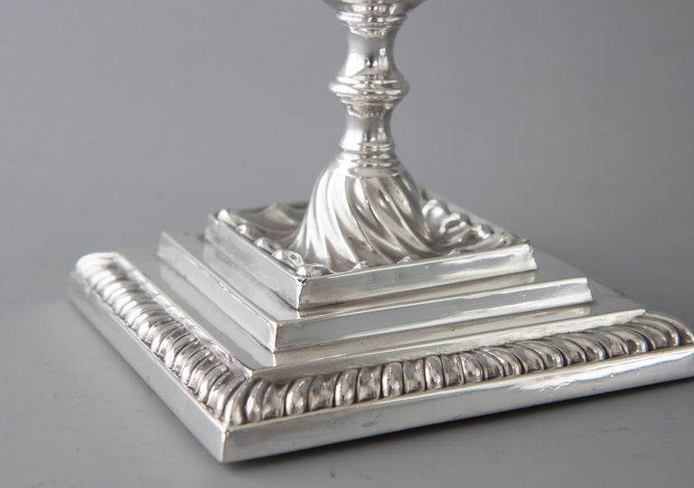 Pair of Victorian Silver Three-Light Candelabra Sheffield 1894 Hawksworth & Eyre For Sale 3