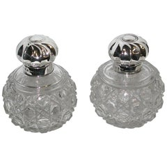 Pair of Victorian Silver Topped Cut Glass Scent Bottles, 1891, J Grinsell & Sons