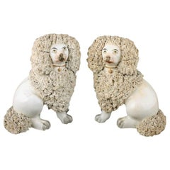 Pair of Victorian Staffordshire Poodles, 19th Century