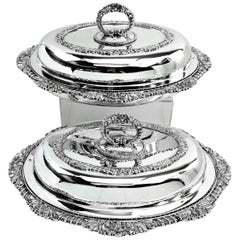 Pair of Victorian Sterling Silver Entree Dishes or Serving Dishes, 1843 Antique