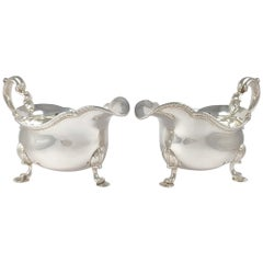 Pair of Victorian Silver Sauce Boats, D and C Houle, 1841, 1039.7 grams