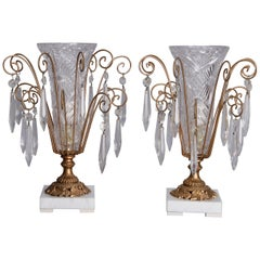 Pair of Victorian Style Cut Glass & Brass Boudoir Lights, 20th Century