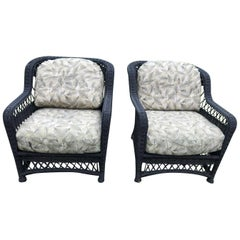 Pair of Victorian Style Outdoor Wicker Armchairs