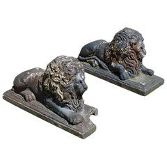 Pair of Victorian Terracotta Garden Lions