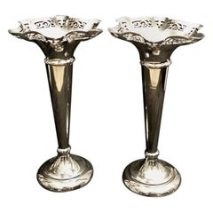 Pair of Victorian Trumpet Vases in Silver Plated Epns England
