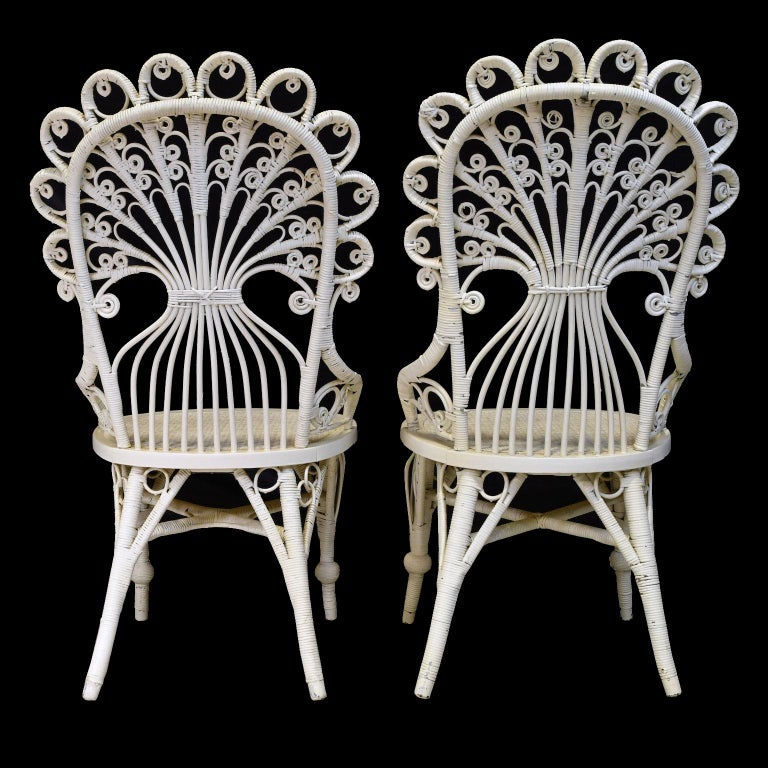 Pair of Victorian Wicker Peacock Chairs, American, circa 1880 For Sale 4