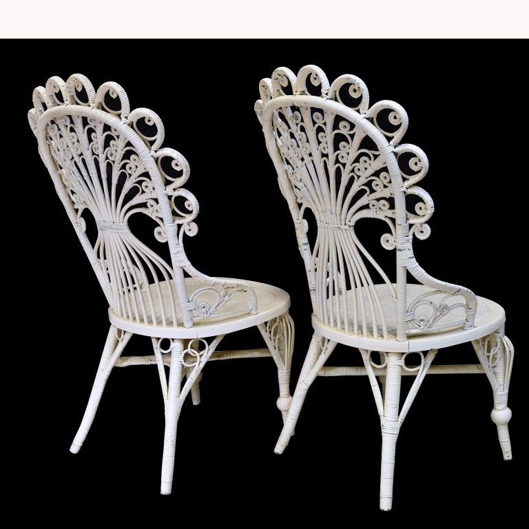 Pair of Victorian Wicker Peacock Chairs, American, circa 1880 For Sale 2