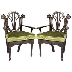 Pair of Victorian Wood Chairs with Caned Seats