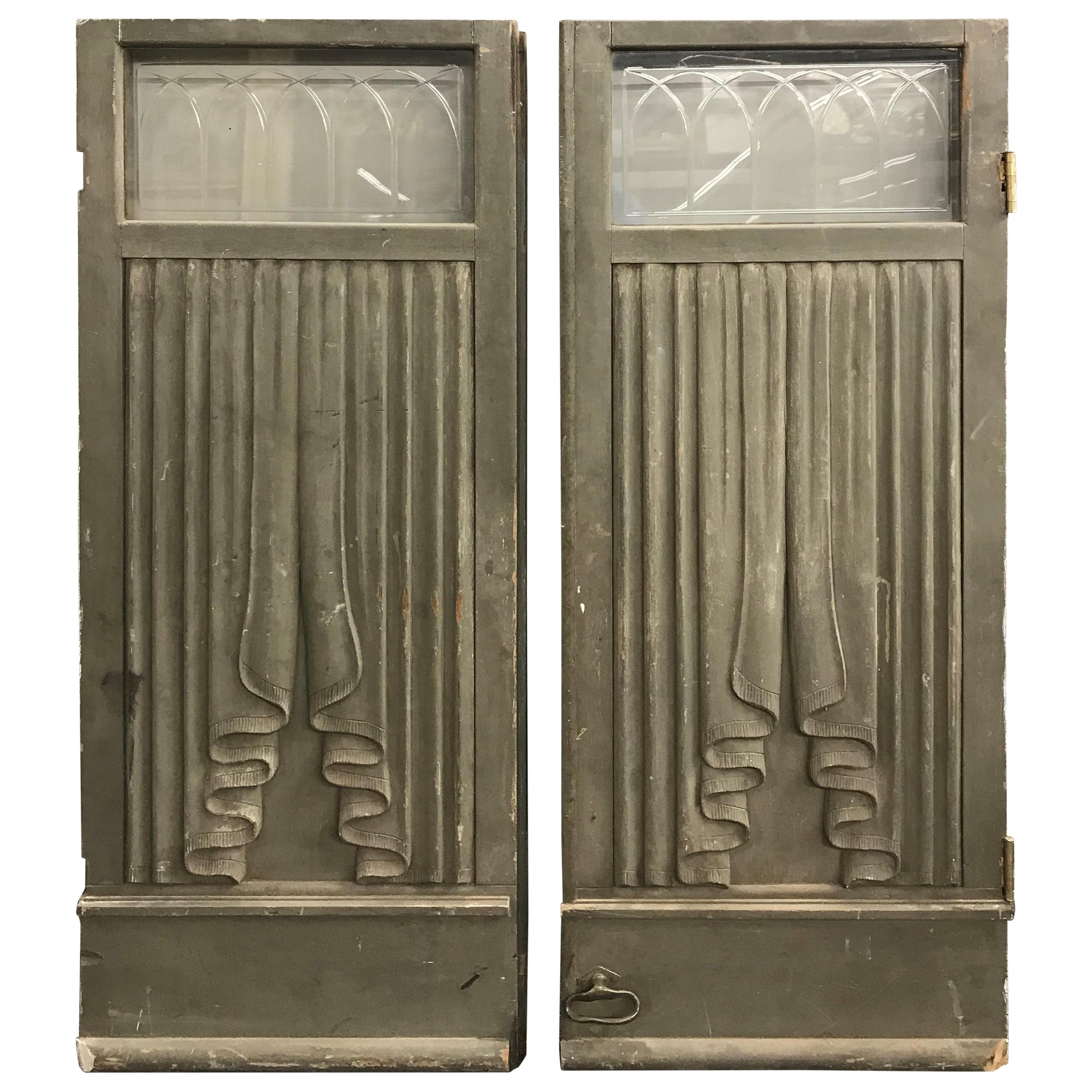Pair of Victorian Wooden Hearse or Funeral Carriage Doors with Glass Transoms