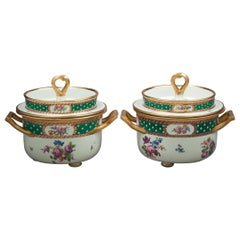 Pair of Vienna Green Ground Ice Pails, circa 1780