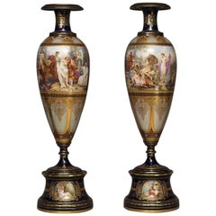 Pair of Vienna Porcelain Vases with Classical Scenes, circa 1890