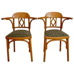 Pair of Vienna Secession Bentwood Chairs by Joseph Kohn, Upholstery. Backhausen.