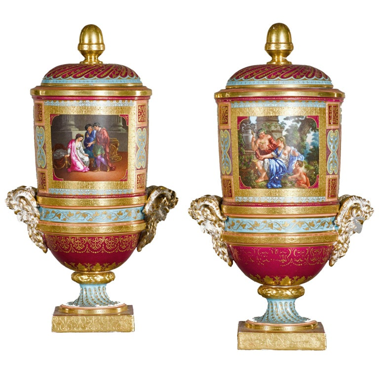 Pair of Vienna Style Covered Cylindrical Vases For Sale