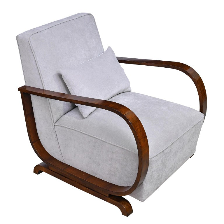 Pair of Viennese Art Deco Armchairs in Walnut with Grey Upholstery, Austria For Sale 5