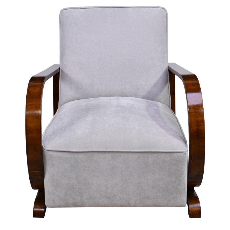 Pair of Viennese Art Deco Armchairs in Walnut with Grey Upholstery, Austria For Sale 6