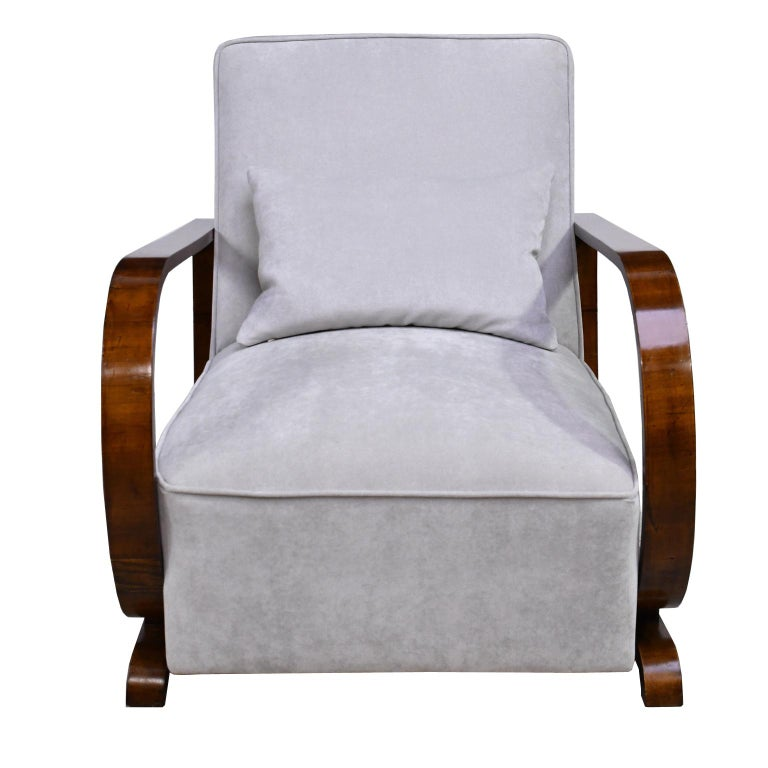 Austrian Pair of Viennese Art Deco Armchairs in Walnut with Grey Upholstery, Austria For Sale