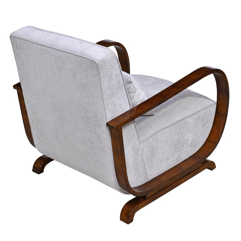 Pair of Viennese Art Deco Armchairs in Walnut with Grey Upholstery, Austria For Sale 3