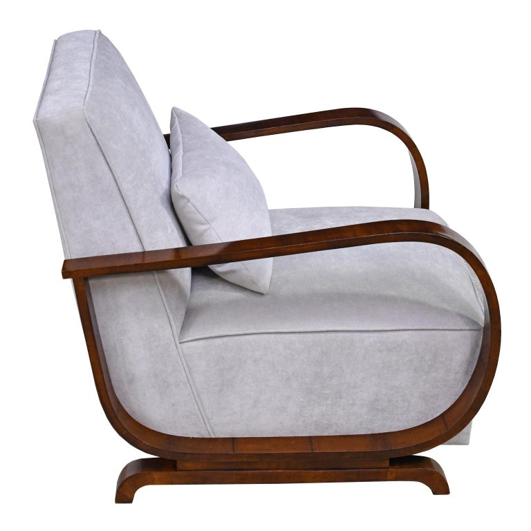 Pair of Viennese Art Deco Armchairs in Walnut with Grey Upholstery, Austria For Sale 4