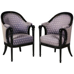 Pair of Viennese Biedermeier upholstered Ebonized Bergere arm chairs